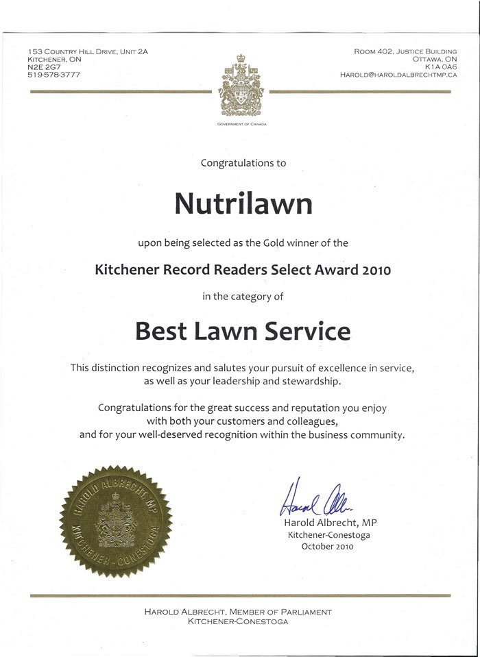 Nutrilawn Kitchener wins Best Lawn Service Award - Featured Image