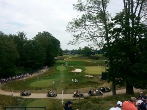 A view of the 521 Yard Par 4 18th hole from the grandstands. (Quarry Hole)